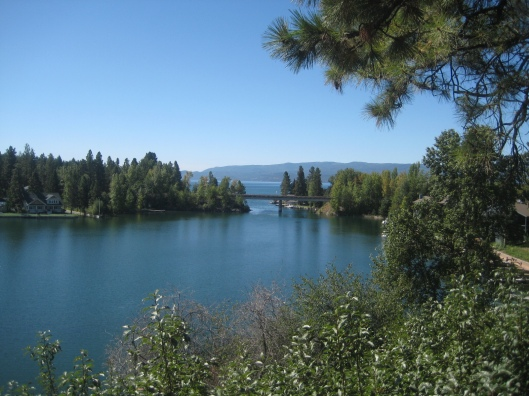 Where Bigfork Bay meets Flathead Lake.  The boat launch is on the left.